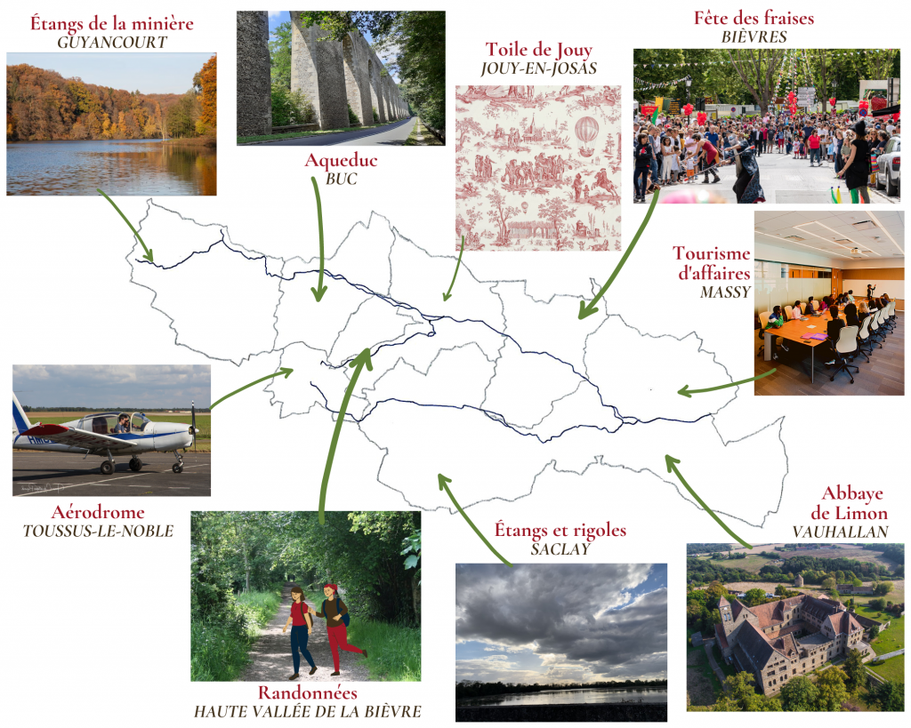 Carte de la Haute vallée de la Bièvre avec ses atouts touristiques