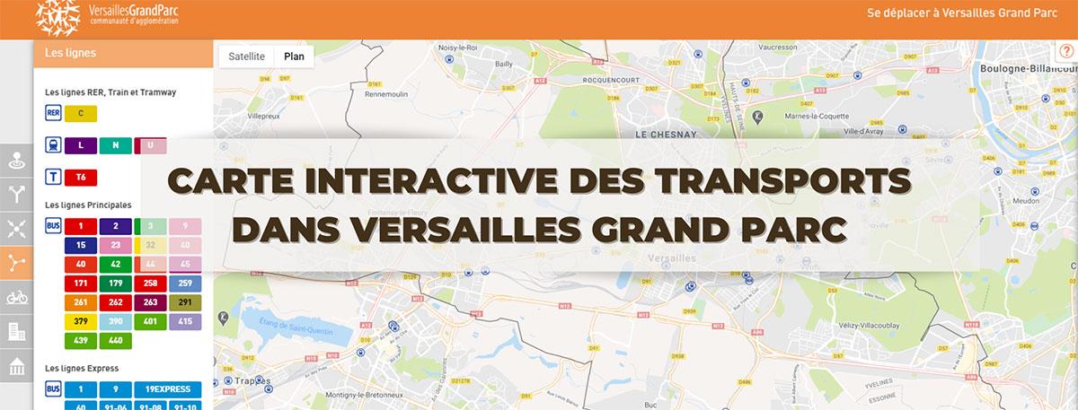 capture d'écran de la carte interactive des transports dans Versailles Grand Parc