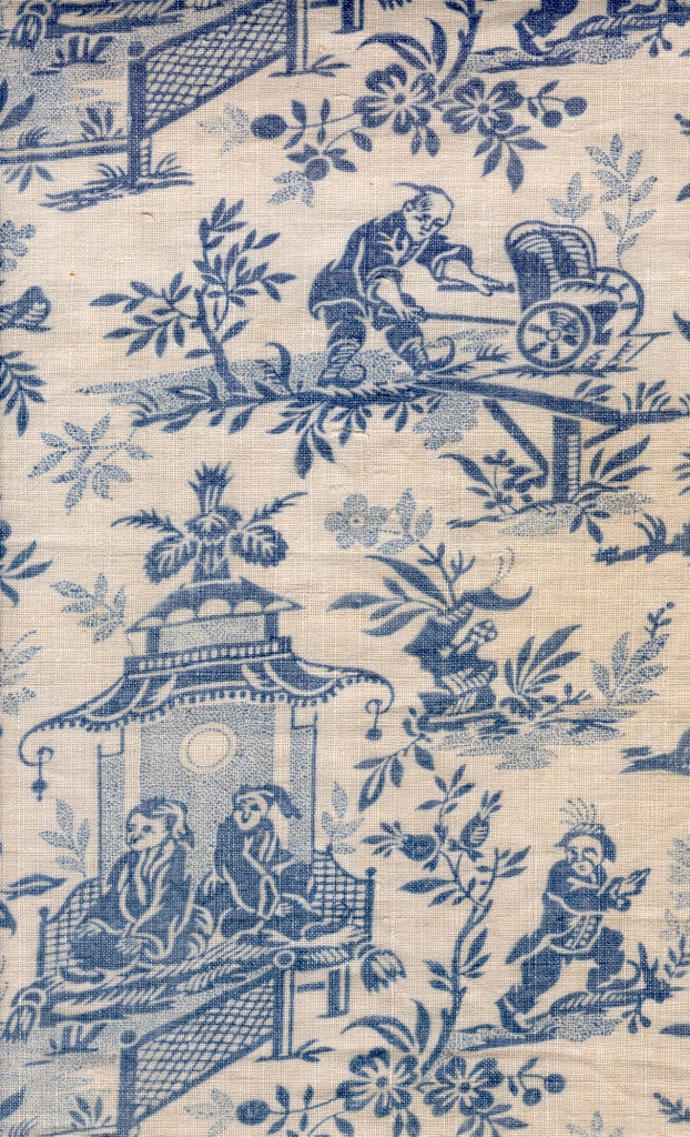 Toile de Jouy représentant des personnages chinois